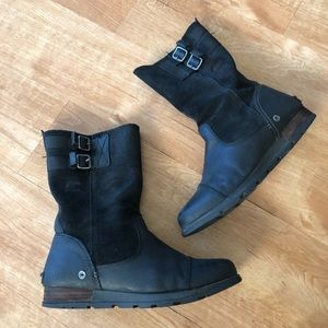 Sorel pull on grizzly black leather boots 10